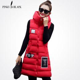 Wholesale Womens Down Vest L - Pinky Is Black Women Winter Vest Waistcoat Womens Long Vest Sleeveless Jacket Hooded Down Coon Warm Female Plus Size Causal