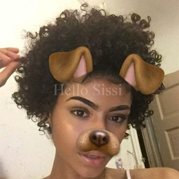 Wholesale Chinese Stockings - Brazilian Afro Curls Mongolian human hair Tiny Afro Kinky Curly Wigs Human Hair Full Lace Front Wig For Black Women in stock