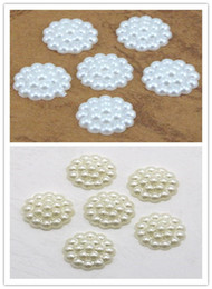 Wholesale Half Pearls Round Beads - 24pcs 13mm White ivory Imitation Pearls Half Round Flatback Flower Beads Wedding Cards Embellishments DIY Decoration 005008021