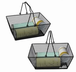 Wholesale Wire Fruit - Black Cosmetics Storage Hollowed Baskets Out Design Skep With Handle Iron Wire Mesh Shopping Food Fruits storage Basket 5pcs GGA54