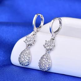 Cristais em forma de pêra on-line-WIBERN Pear Shaped Crystal Pendant Brincos de Prata Zircon