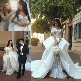Wholesale vintage black taffeta skirt - Luxury Overskirt Lace Wedding Dresses With Detachable Skirt Off Shoulder Arabic Dubai 2018 Train vestido de noiva Bridal Gown Ball For Bride