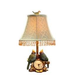 Wholesale Classical Study Table - 100% Quality Classical European Style Resin Birds Fabric Led E27 Table Lamp With Clock For Bedroom Living Room Study 48cm 1218