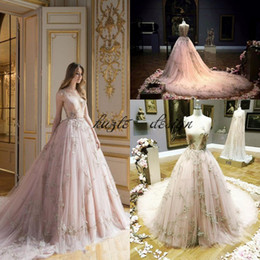 Wholesale Fairytale Dresses - 2018 Fairytale Ball Gown Evening Pageant Dresses Plunging Neckline Appliques Tulle blush Champagne Princess Prom Gowns Paolo Sebastian