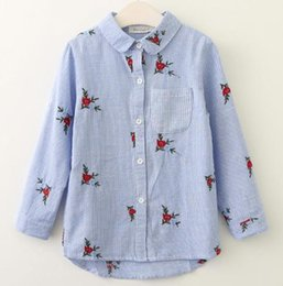 Wholesale Kids Blouse Embroidery - Baby Clothes Girls Shirts New Spring Autumn Brand Baby Girls Blouse Red Flowers Embroidery Strip Kids Shirts Children Clothing