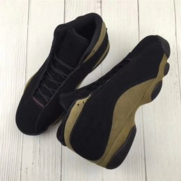 Wholesale Real Eyes - 2018 Release Air Retro 13 Olive Basketball Shoes For Men Brown Black Real Carbon Fiber 13s Retro Authentic Sneakers Best Quality 3D Eyes