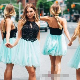 Wholesale sweet halter neck dress - Black And Mint Halter Neck Homecoming Dresses Sleeveless Lace Tulle Mini Short 8th Grade Graduation Party Dresses Sweet 16 Dresses