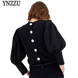 Wholesale Short Puff Ladies Blouse - YNZZU Casual Black Women Blouse Shirt 2018 New Spring Chic Puff Sleeve Loose Cotton Back Buttons Lady Blouse Women Tops YT330