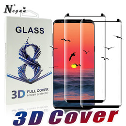 Wholesale hd mirror screen protector - For Samsung Galaxy S9 S8 Plus Note 8 S7 Edge Case Friendly 3D Curve Edge HD Clear Tempered Glass Screen Protector With Package