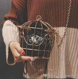 Wholesale Outlet Metal - outlet brand bag product personality package metal hoop cage cage catwalk trend of women fashion chain bag hook flower embroidery bag