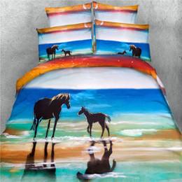 2019 conjuntos de cama de cavalo de tamanho duplo 100% algodão pintura 3d animal cavalo 4 pcs conjunto de cama sem enchimento twin / full / queen / king / super king size têxtil de casa frete grátis conjuntos de cama de cavalo de tamanho duplo barato