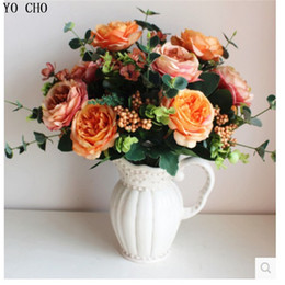 Wholesale Large Silk Flowers Yellow - Yo Cho Large Artificial Peony Bouquet High Quality Wholesale European Simulation Rose Flower Artificial Silk Flowers