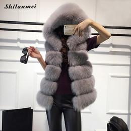Wholesale Short Gilet - Hooded Cap Fur Vest 2017 Fashion Luxury Thick Warm White Faux Fox Fur Coat Female Down Coat Jacket Solid Gilet Women Coats