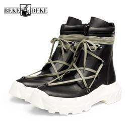 mens tobillo botas correas Rebajas High Street Correa cruzada para hombre Zapatos de plataforma gruesos antideslizantes Gótico de cuero real Zapatos de seguridad tácticos de tacón alto Tacones Botines