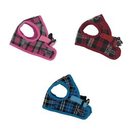 Wholesale choose print - Hot sale Fashion design plaid pattern Soft Airmesh Step-in Jacket Harness for dogs size 4 color 4 to choose