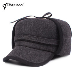 65d7b8a06aa77 Fibonacci Winter Men Bomber Hat Plush Inside Windproof Warm Ear Protect  Bomber middle Aged Old Age Hats Russian Ushanka Cap