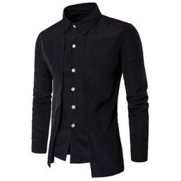 Wholesale Korean Black Long Blouse - Novelty Shirt Double Placket Black Blouse Solid Color Men Shirt Wedding Party Clothing Tide Boys Tops Long Sleeve Korean Slim