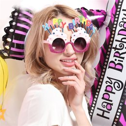 Wholesale happy balls - Happy Birthday Theme Design Funny Glasses Creative Cream Cake Shape Sunglasses For Party Dancing Ball Decoration Mask Hot Sale 12sf Z