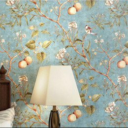 Wholesale american papers - beibehang American Wallpaper Retro Apple Tree Flower Wallpaper Bedroom Living Room Background Pure Paper Pastoral