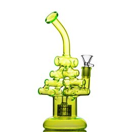 stacking bong Coupons - New Arrival Cool Stack Green Glass Bong Recycler Dab Rig with Double Chamber 9.8 Inches and 14mm Joint