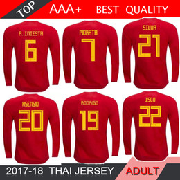 Wholesale Spain National Team - 2018 World Cup long sleeves 18 19 Spain soccer jersey national team home A.INIESTA MORATA RAMOS ASENSIO ISCO SAUL Football shirt Size S-2XL