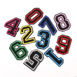 Wholesale Iron Clothes Stickers - 1Set 10pcs Embroidered Iron On Patches For Clothes Sewing Number Clothing DIY Motif Applique Sticker For Clothes Badge