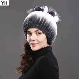 84d181b93fc 2018 Women s Genuine Rex Rabbit Fur Hats Winter Rex Rabbit Fur Beanies  Striped Head Top Flower Fox Warm Real Knit Caps