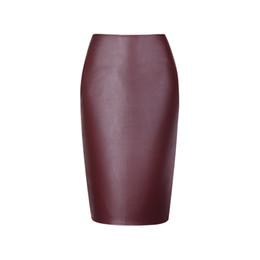 Wholesale Girls Pu Skirt - Pure color PU Womens pencil skirts fashion bodycon lady midi saia female faldas fashion girls slim bottoms M-XXL wholesale
