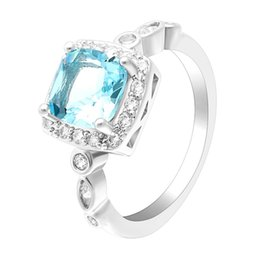 Wholesale womens bridal sets - 2018 Jewelry Sky Blue Geometric Cubic Zirconia Luck BithStone Womens Girls Wedding Bridal Engagement Rings Gifts