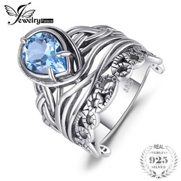 Wholesale Blue Topaz Ring Sterling - wholesale Vintage 6.20ct Sky Blue Topazs Hollow Carved Rings For Women 925 Sterling Silver Luxury Brand Fashion Jewelry