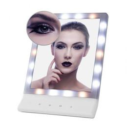 Wholesale wall mounted light mirror - Women's LED Makeup Cosmetic Mirror Multiple Illumination Large Screen Wall Mount Mirror with 18 LED Light
