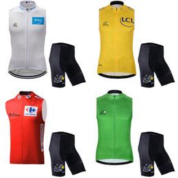 Wholesale tour france vests - TOUR DE FRANCE team Cycling Sleeveless jersey Vest shorts sets Hot Sale Bicycle racing suit mountain bike road bike set c2734