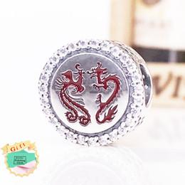 925 sterling silber chinesische perlen online-Authentische 925 Sterling Silber Bead Chinesisches Neujahr Drachen Charme passt europäischen DIY-Stil Schmuck Armbänder