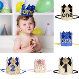Wholesale Tiara Glitter Headbands - Baby girls Glittering Tiara headbands infant Brithday party Crown Headdress Kids Elastic Sequins Hairbands Children Hair Accessories C4490