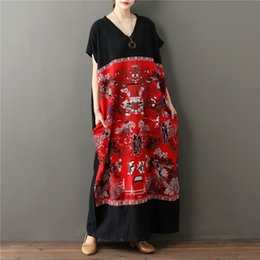Wholesale natural linen paint - Robe Vestidos 2018 Women Cotton Linen Original Chinese Dress With Pockets Vintage Painting Printed Maxi Long Dresses V-Neck