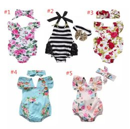 Wholesale Baby Flower Romper - Newborn baby girl clothes summer flower romper jumpsuit onesies +headband 2pcs kid clothing boutique outfits babies girls toddler 0-24M B11