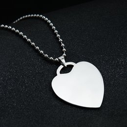 Wholesale personalized dog jewelry - Customized Engraved Stainless Steel Pendant Necklace Heart Dog Tag Personalized with any message women men gift fashion jewelry wholesale