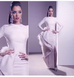 Wholesale Noble Classic - Column Thigh Slits Floor Length Jewel Long Sleeves Feather Ruffle Sexy Noble Custom MADE Special Evening Dresses Prom DRESS