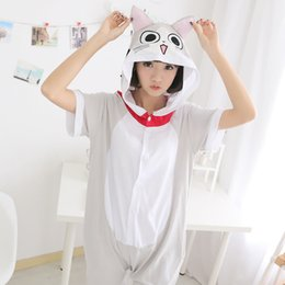 Wholesale Cute Cheese - free shipping animal Summer Cheese cat Short Sleeve sleepwear soft Adult Cute Couple Homewear pyjamas