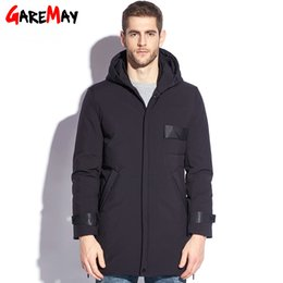 Wholesale White Long Puffer Coat - GAREMAY Feather Jacket Men Winter Male Duck Down Jacket Long Plus Size Men's Puffer Down Parkas Hooded Black Big Coat Men 2017