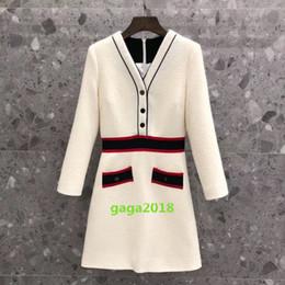 2019 verifique o vestido de inverno Mulheres manga comprida vestido morno v pescoço longo camisa Tweed verificar túnica vestido jaqueta vestido saia high-end camisa de inverno saia listras verifique o vestido de inverno barato
