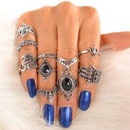 Wholesale vintage elephant ring - whole saleWLP Vintage Fatima Hamsa Hand Ring Sets For Women Turkish Silver Color Synthetic Stone Elephant Elephant crown Midi Rings