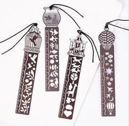 Wholesale Cute Metal Bookmark - Cute Kawaii Creative Horse Birdcage Hollow Metal Bookmark Ruler For Kids Student Gift School Supplies