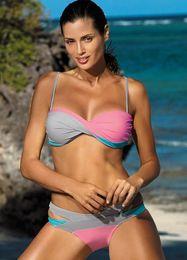 Wholesale Sexy Design Bikini - 2018 Sunshine fashion two-piece suits bathing suit 7 color Cross strap sexy Hollow out design Beach vacation bikini