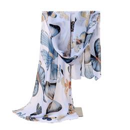Écharpe papillons en Ligne-New Fashion Femmes Lady Hiver Classique Papillon Imprimer Châles Écharpe Écharpes En Mousseline De Soie Doux Longue Écharpe Taille 160 * 45 cm