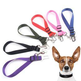 Wholesale reflective dog collars leashes - Pet Dog Safety Vehicle Car Seat Belt Elastic Reflective Dog Seatbelt Harness Lead Leash Dog Collars Leashes T2I208