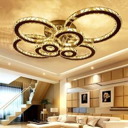 Montaggio a cuneo online-Lampada da soffitto a soffitto a LED in cristallo K9 Lampada da soffitto a soffitto in cromo 8 Lampada da soffitto a LED a LED con telecomando per soggiorno