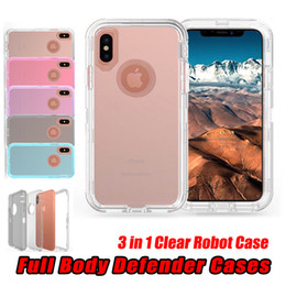 Wholesale iphone 5s body - 3 in 1 Clear Robot Case Transparent Full Body Defender Cases Cover For iPhone X 8 7 6 Plus 5S Samsung S7 edge S8 S9 Plus Note 8