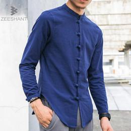 9d1a2e029c24 Men Linen Shirts Long Sleeve Chinese Style Mandarin Collar Traditional Kung  Fu Tang Casual Social Shirt Brand Clothing