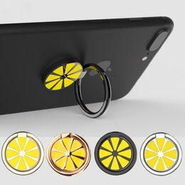 Wholesale Gold Lemon - Universal 360 Degree Metal Finger Ring Holder Lemon Phone Stand For iPhone 8 Samsung For Mobile Phones